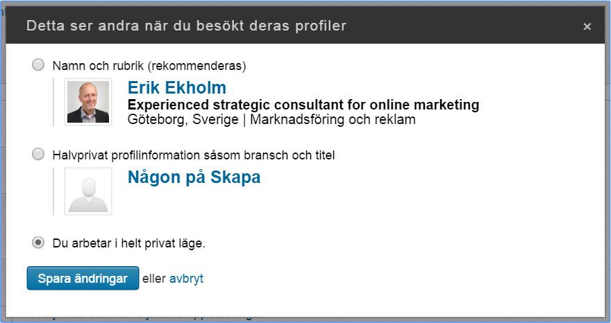 Inställning i LinkedIn
