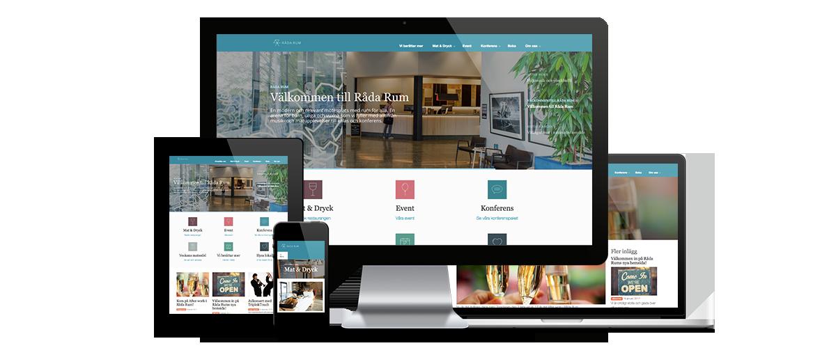 Responsiv design av Råda rum's nya webbplats